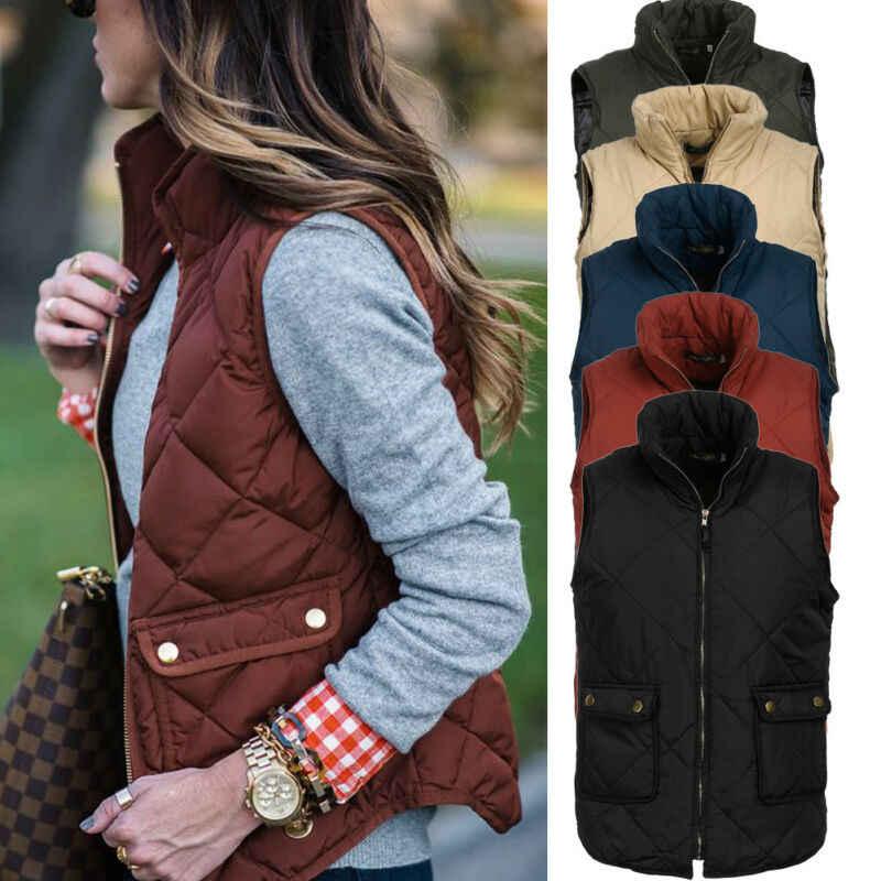 패션 여성 캐주얼 겨울 민소매 코트 격자 무늬 지퍼 자켓 카디건 정장 퍼퍼 조끼 따뜻한 코튼 패딩 조끼 Outwear New