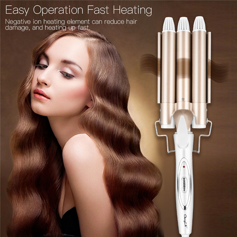 Fast Heating Anion Triple Barrel Hair Curling Wand Ceramic Triple Barrel Hair Curler Roller Corrugation Hair Waver Styling Tools