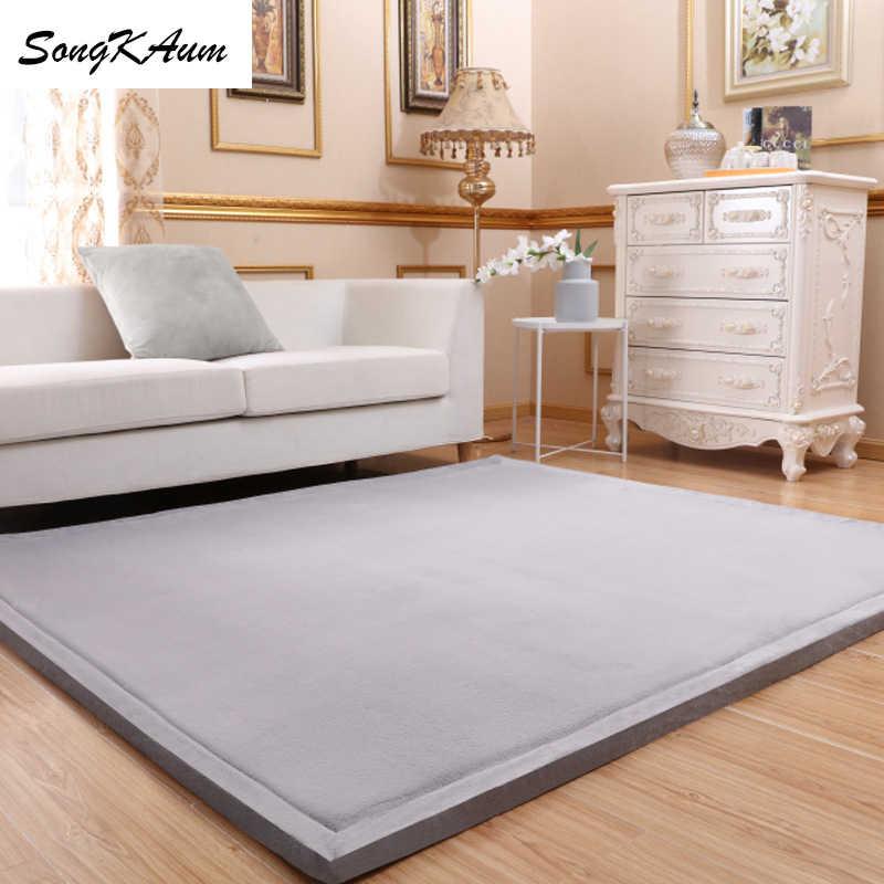 Утолщенные коралловые флисовые большие ковры SongKAum в японском стиле, однотонные простые татами, Настраиваемые коврики, домашний ковер для спальни