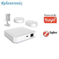 Tuya Smart ZigBee Gateway Hub Casa Kit di Allarme PIR Sensore Porta di Sicurezza di Monitoraggio di Umidità di Temperatura Sensore di Vita Intelligente