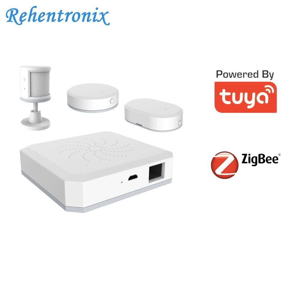 Tuya Smart ZigBee Gateway Hub Home Monitoring Security Alarm Kit PIR Door Sensor Temperature Humidity Sensor Smart Life