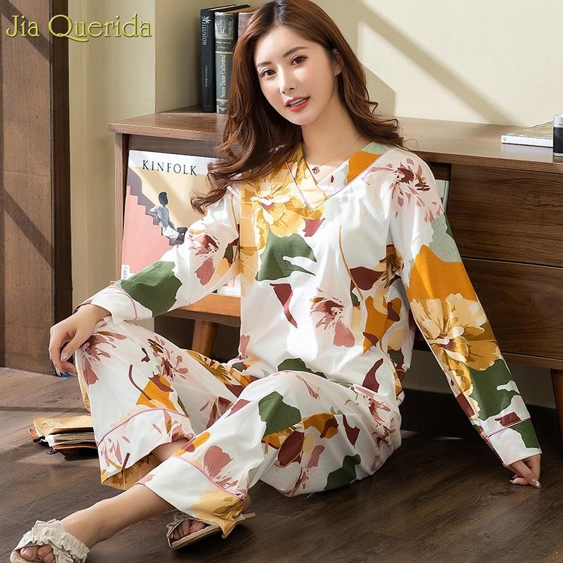 New Pyjamas Women Plus Size Pajamas White Floral Printing V-collar Trendy Lingerie Home Suits Wide Legs Female Cotton Sleepwear 3