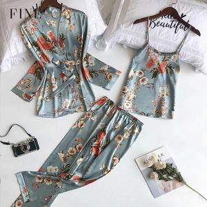 FINETOO 3Pcs/set Spring Autumn Women Silk Pajamas Sets No-Pads Flower Print Pajama Sleepwear Spaghetti Strap Satin Pyjamas 2020