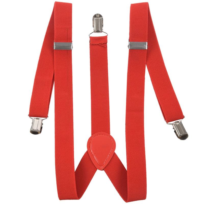 Women Men Clip-on Adjustable Pants Elastic Y Back Suspender Braces - Red
