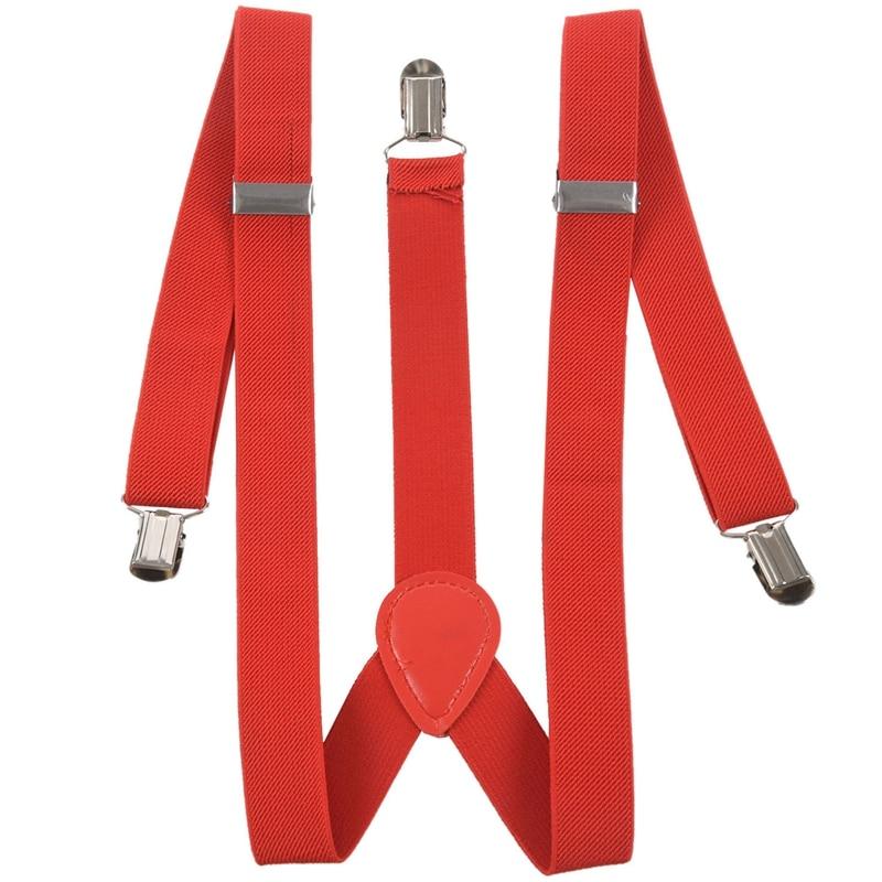 Women Men Clip-on Adjustable Pants Elastic Y Back Suspender Braces - Red