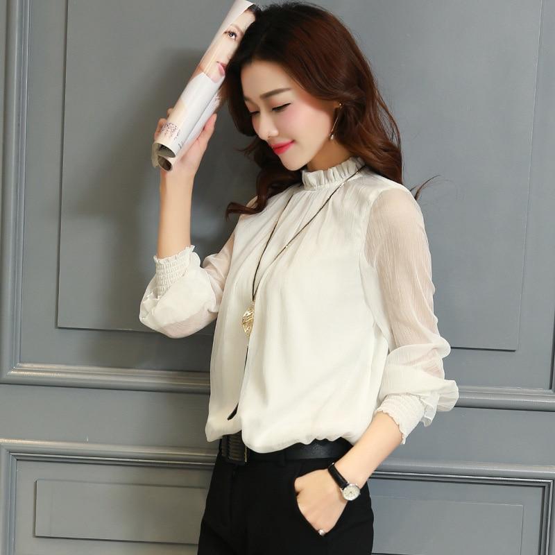 Chiffon Blouse New Women Tops Long Sleeve Stand Neck Work Wear Shirts Elegant Lady Casual Blouses women's blusas Plus size 3
