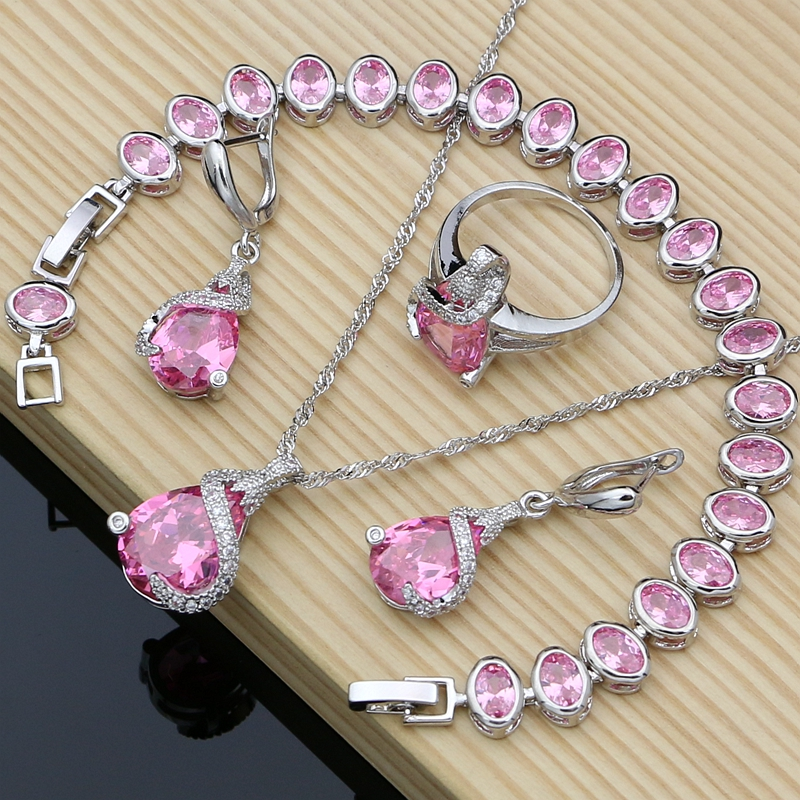 Romantic Gift 925 Sterling Silver Jewelry Sets Pink Cubic Zirconia Earrings Bracelet Fashion Bridal Wedding Set Dropshipping