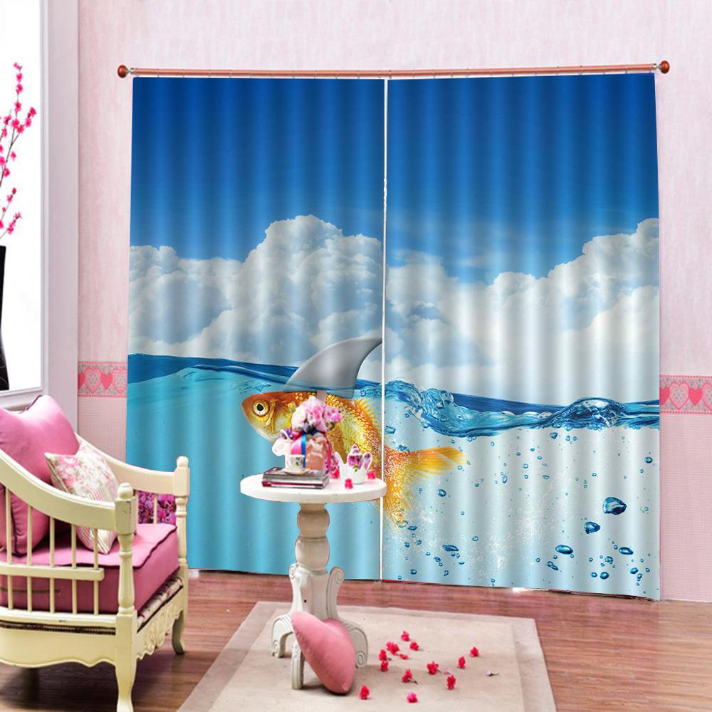 Blue sky and white clouds Blackout Window Curtains For Living room Bedroom Curtains Sea goldfish Luxury Stereoscopic 3D Curtain