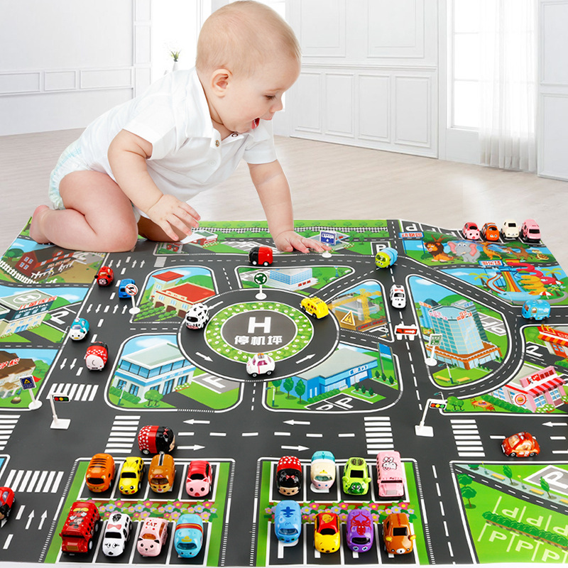 <font><b>130*100cm</b></font> Kids Play Mat Traffic Highway Routes City Scene Map Model Car Toy Game Pad Interactive Developing Crawling Mat image