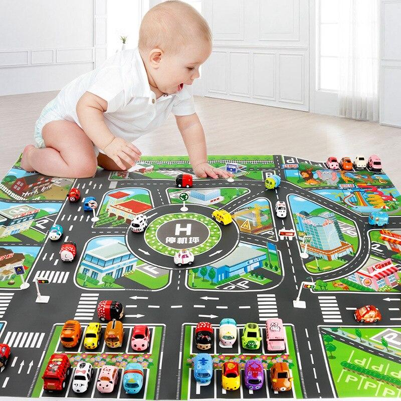 130*100 см детский игровой коврик детский Карта города движения автомобильных дорог модель автомобиля игрушка образовательный коврик интерак...
