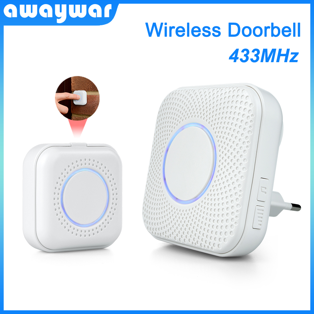 433MHz Smart Wireless Doorbell Home Security Welcome Visitor Doorbell Alarm LED Light 36 Ring Songs With Transmit Button Chimes