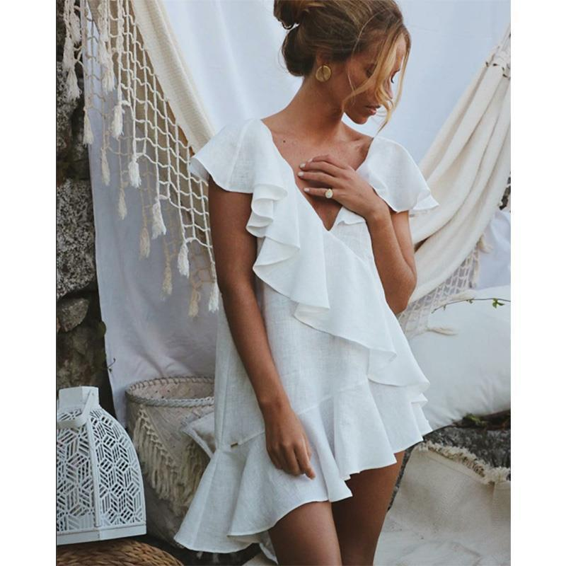 Cover Up Beach Dress Swim Out Woman Pareos 2020 Spot Summer Sexy Women Wear Sleeveless Neck Ruffled Skirt Solid Cotton Fmzxg
