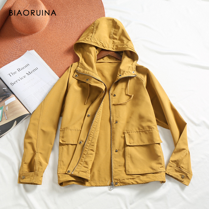 BIAORUINA 4 Color Women's Safari Style Solid Loose Hooded   Trench   Coat Female Casual A-line Outerwear Fashion All-match Coats