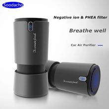 Soodacho автомобильный очиститель воздуха, фильтр Hepa с отрицательными ионами, портативный мини USB дизайн ионизатор дыма, автомобильный парфюме...