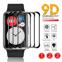 1-3PCS 9D Curved Clear Soft Fiber Protective Glass For Huawei Watch Fit Smartwatch Full Screen Protectors Film Cover Accessories 1