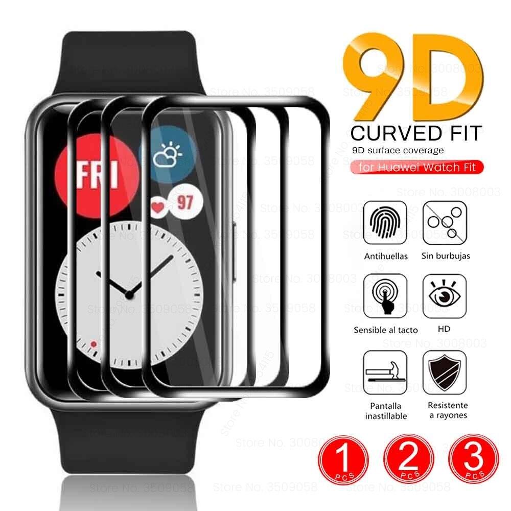 1-3 шт. 9D изогнутые прозрачные мягкие волокна Защитное стекло для Huawei часы подходят Smartwatch Полный Защитная пленка для экрана с пленочным покры...