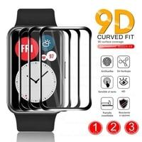 1-3 pezzi di vetro protettivo in fibra morbida curva 9D per Huawei Watch Fit Smartwatch protezioni per schermo intero accessori per la copertura della pellicola
