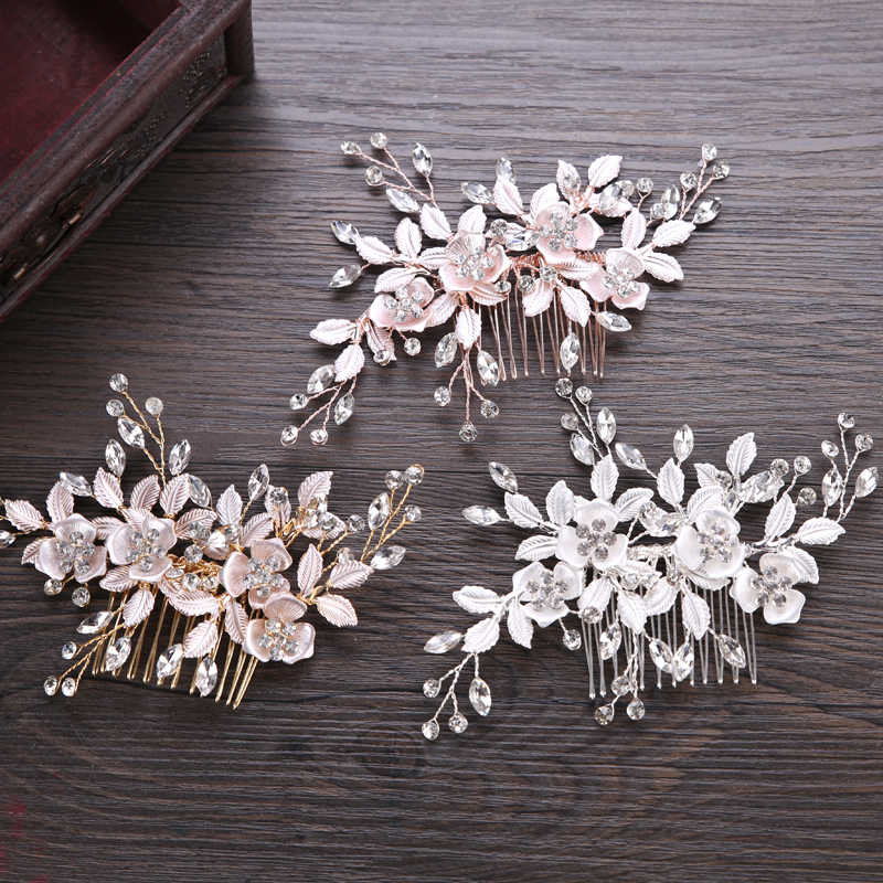 Trendy Silber Farbe Rose Gold Blume Haar Kamm Braut Haar Zubehör Hochzeit Tiara haarschmuck Braut Haar Schmuck Handgemachte