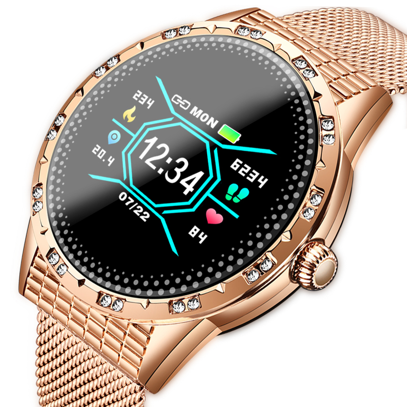 LIGE Bluetooth <font><b>Smart</b></font> <font><b>Watch</b></font> Women LED Color <font><b>Display</b></font> Diamond Alloy Smartwatch Heart Rate Monitor Sport Lady <font><b>Watch</b></font> for IOS Andriod image