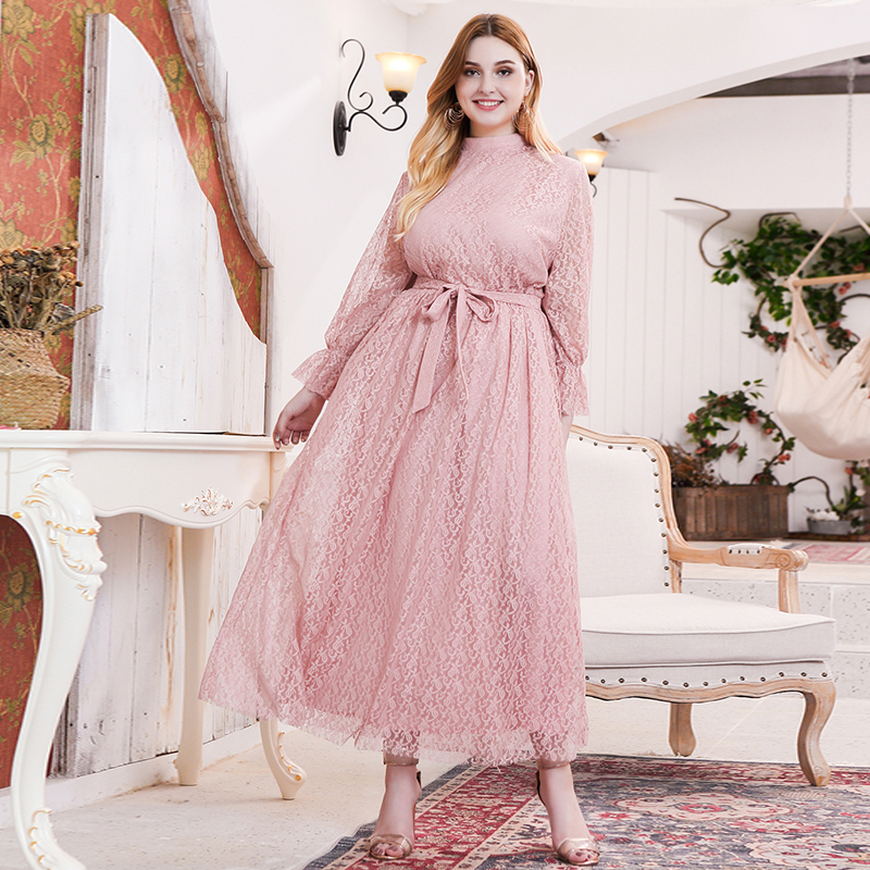 Siskakia Sweet Pink Lace Elegant Long Dress Plus Size Mandarin Collar Flare Long Sleeve Maxi Dresses Evening Party Spring 2020