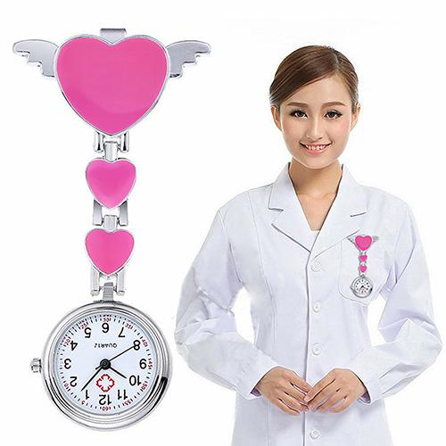 Nurse Watch Female Portable Women Stainless Steel Lady Cute Love Heart Quartz Fob Brooch Clock Nurse Watch Doctor Medical Reloj