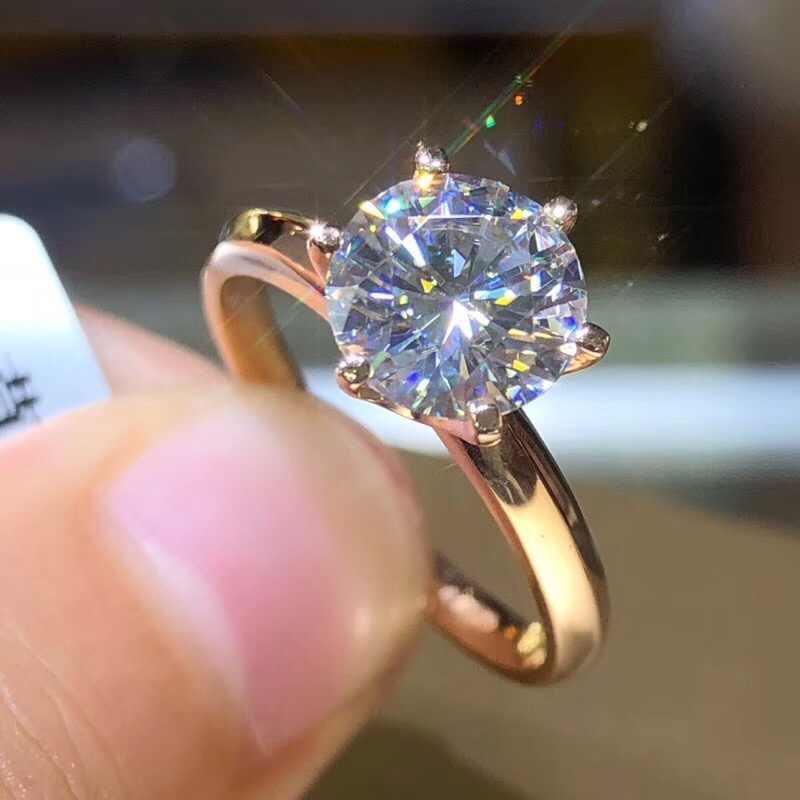 YANHUI di Marca Classic Solido Puro Bianco/Giallo/Rosa Anello In Oro Originale 8mm 2.0ct Zirconia Diamante Fascia di Cerimonia Nuziale anelli Per Le Donne