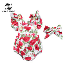 Brand New Floral Newborn Baby Girl Clothes Ruffles Sleeve Bodysuit +Headband 2pcs Outfit Infant Clothing Babys Sets 0-24M
