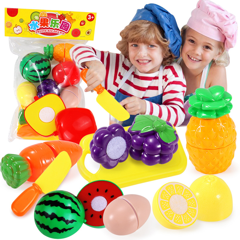 Children Cut Fruit Qie Le Toy Play House Simulated Vegetables Can Cut 9-Piece Set Early Childhood Educational