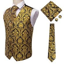 Oi tie masculino terno colete de seda fino laço paisley abotoaduras lenço formal colete ouro/vermelho/preto para negócios smoking