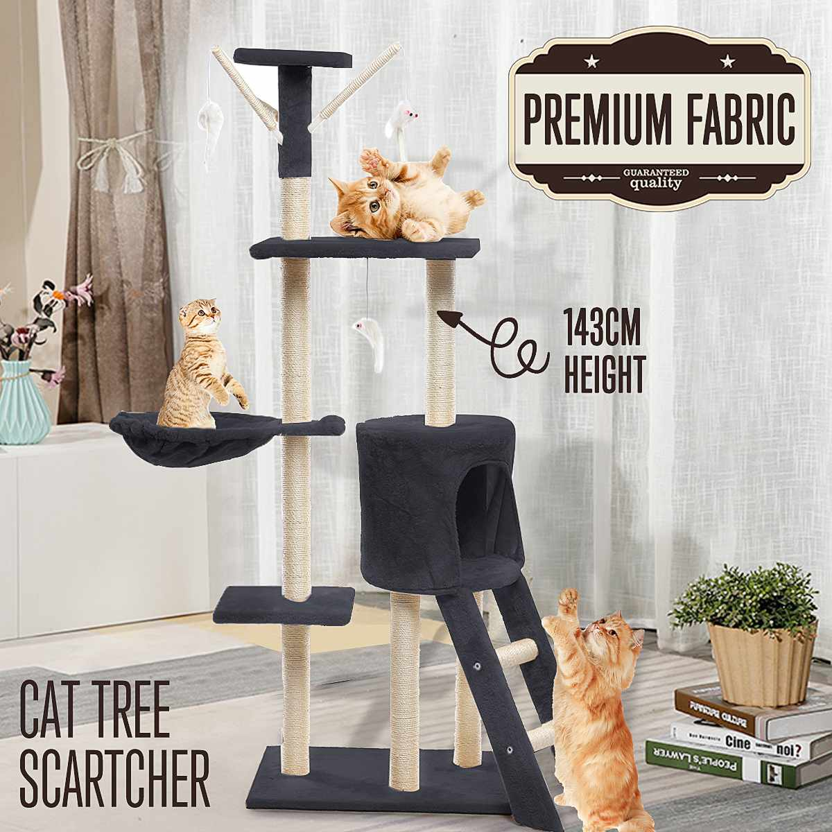 143cm <font><b>Pet</b></font> <font><b>Cat</b></font> <font><b>Tree</b></font> House Condo Toy Scratching Post for <font><b>Cats</b></font> Wood Climbing <font><b>Tree</b></font> <font><b>Cat</b></font> <font><b>Tree</b></font> <font><b>Towers</b></font> Furniture <font><b>Cat</b></font> Playing Toys image