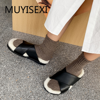 Wool Fur Slippers for Women Slide Sandal Fuzzy Genuine Leather Brand Shoes Slip On Flat Slingback XL12 MUYISEXI