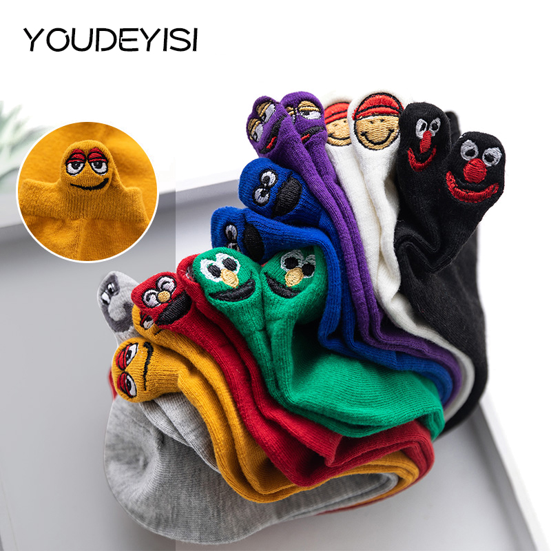 YOUDEYISI Funny Socks Women Happy Fashion Ankle Socks Women Cotton Embroidered Expression Candy Color Cute Socks