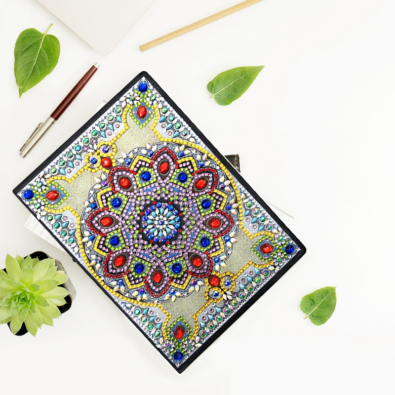 5D DIY Diamond Art Teens Notebook Blank A5,Writing Note Book Secret Diary for Kids Sketch Book for Beginners journals for Men with Colourful Diamonds Dandelion for Office//Home//Craft//Art Use