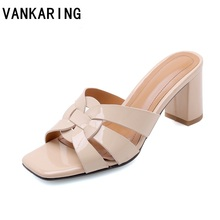 New women slippers patent leather square heels slipper sexy open toe sandals black white apricot ladies casual shoes woman