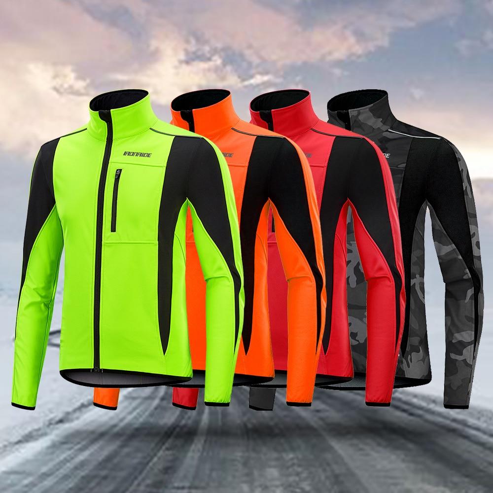 New Arrival! Ironride Winter Cycling Jacket For Men Women Fleece Thermal Reflective MTB Coat Bike Windproof Jacket Windbreaker