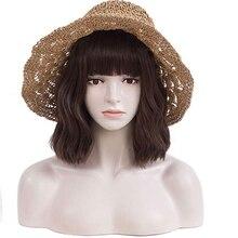 Alynn peruca de onda curta marrom bob peruca com franja natural olhando resistente ao calor peruca sintética para as mulheres cosplay festa uso diário