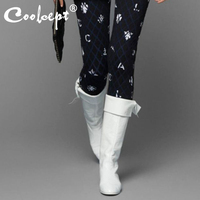 Coolcept Plus Size 35 48 Winter Knee High Boots Women Flats Shoes Round Toe Black White Long Boots Bowknot Designer Footwear