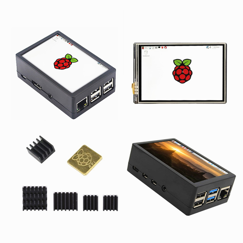 New 3.5 inch TFT LCD Display Touch Screen + ABS Case + Heat sink For Raspberry Pi 4B 3B+ 3B-in Demo Board Accessories from Computer & Office