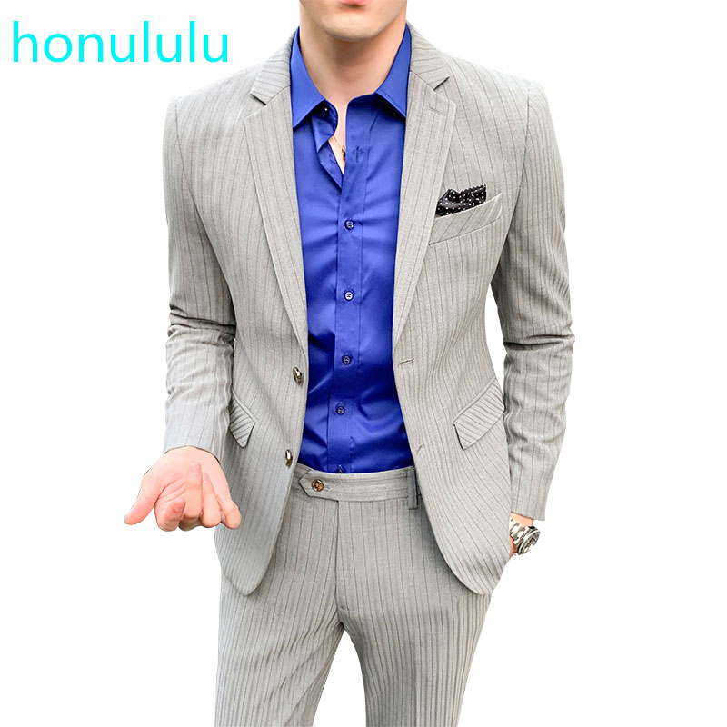 Autumn And Winter Fashion Youth Business Leisure Stripe Suit Men's Slim Men's Suit Two Piece Suit