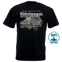 Mens Esfriar Tops Manga Curta Kubelwagen Typ 82 Camiseta Schwarz Wh Wk Fahrzeug Oldtimer Kübel Esatzteile Milit