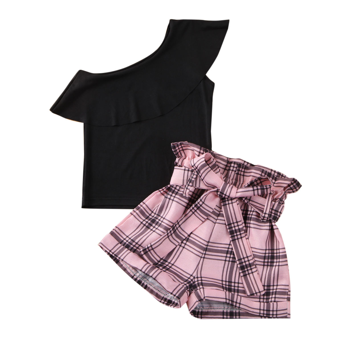 Pudcoco Toddler Baby Girl Clothes Solid Color Off Shoulder Ruffle Tops Plaids Short Pants 2Pcs Outfits Cotton Clothes Set