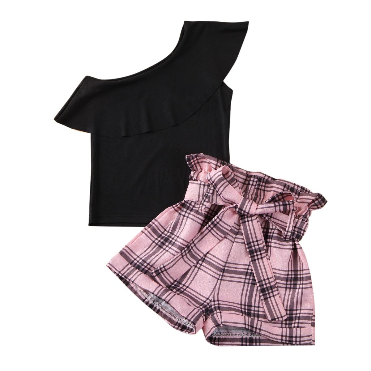 Pudcoco Toddler Baby Girl Clothes Solid Color Off Shoulder Ruffle Tops Plaids Short Pants 2Pcs Outfits Cotton Clothes Set