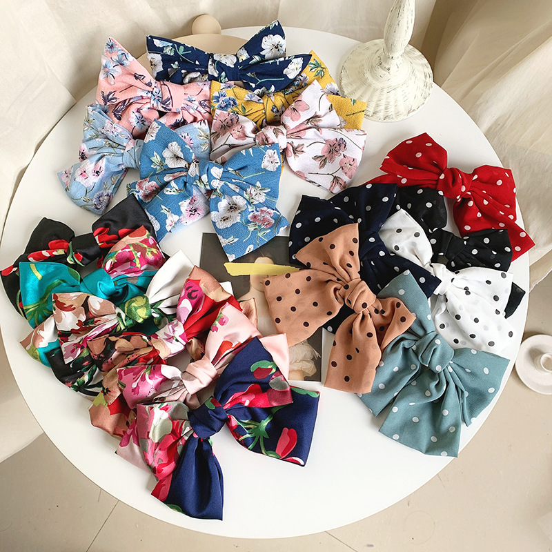 New Quality 2 Layers Chiffon Barrettes Dots Hair Clip Big Large Girls Hair Bow Broken Flower For Women Ponytail Hair Accessories