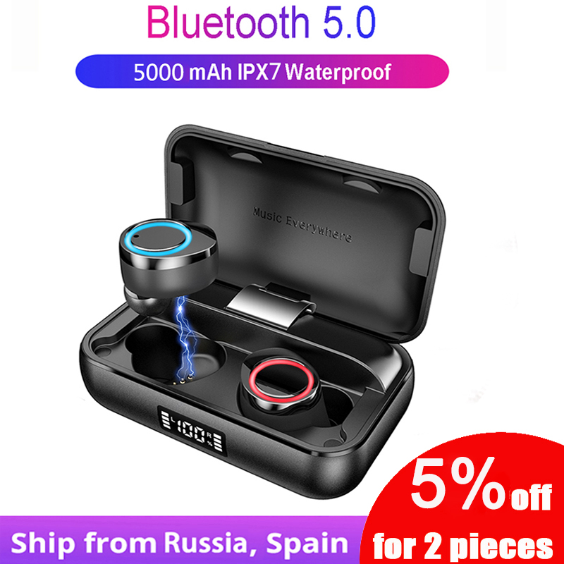<font><b>TWS</b></font> 5.0 Bluetooth Earphone IPX7 Waterproof Noise Reduction Headsets for Xiaomi iPhone <font><b>11</b></font> <font><b>Touch</b></font> Control Earphones Digital Display image