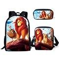 HaoYun детский школьный рюкзак  Kawaii  с рисунком льва и короля  школьные сумки  с мультяшными маленькими животными  комплект из 3 предметов  студе...
