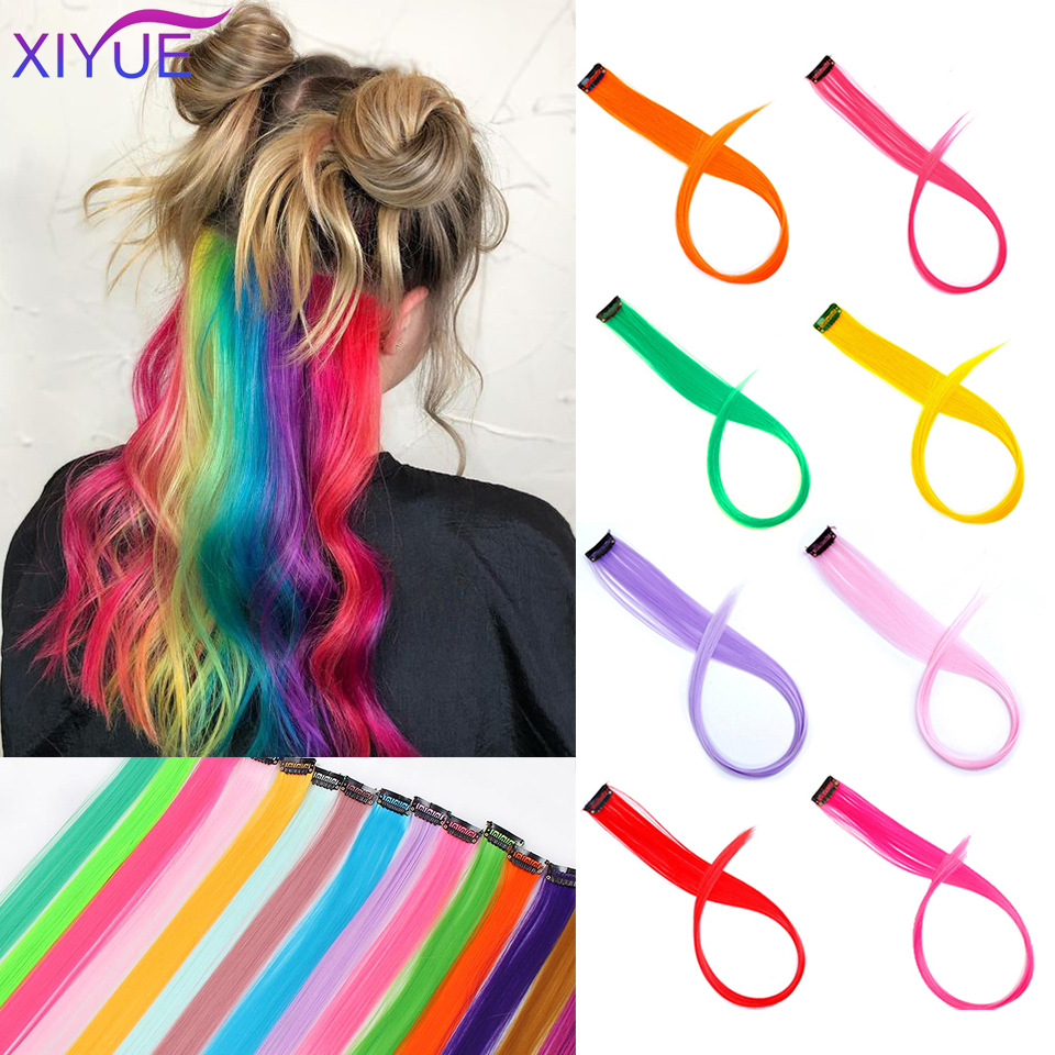 Colored Hair Straight Clip In One Piece Long 20inches Colored Heat-Resistant Synthetic Extension Hair Rainbow Strand
