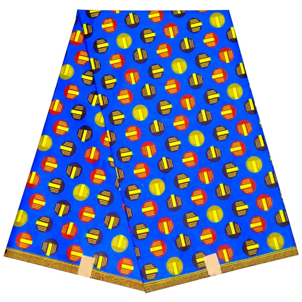 Kwanzaa African Wax Ankara Veritable Wax Dot Print Blue Fabric African Fabric