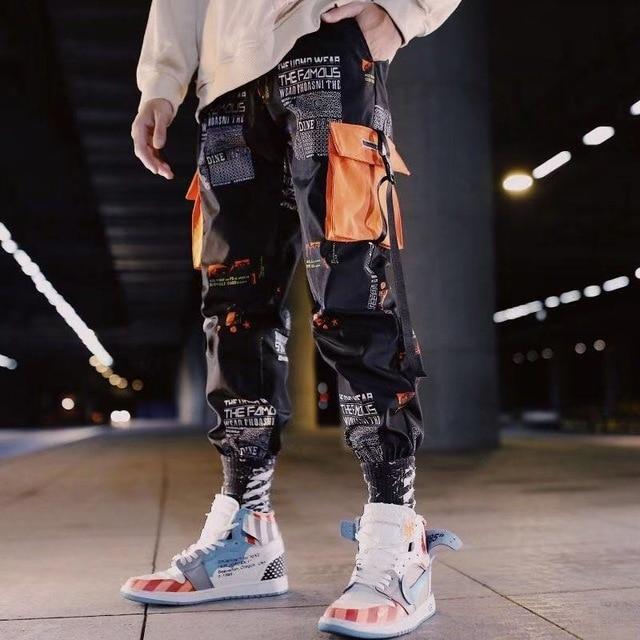Hip Hop Ribbons Cargo Pants Men Joggers Pants Streetwear Men 2020 Fashion Mens Elastic Waist Pant Ribbons Cotton Black W117 5