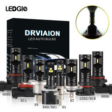 LEDGLE 2Pcs 50W H4 H7 LED Bulbs HB4 9006 HB3 9005 H4 9003 H8 H9 H11 LED Fog Light Bulb Auto Driving DRL Lamp 6000k White(China)