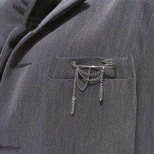 Pin de Metal para mujer, Broche con borla, cadena de chica Guay, Color plateado, accesorios de tela, Broche, joyería Simple